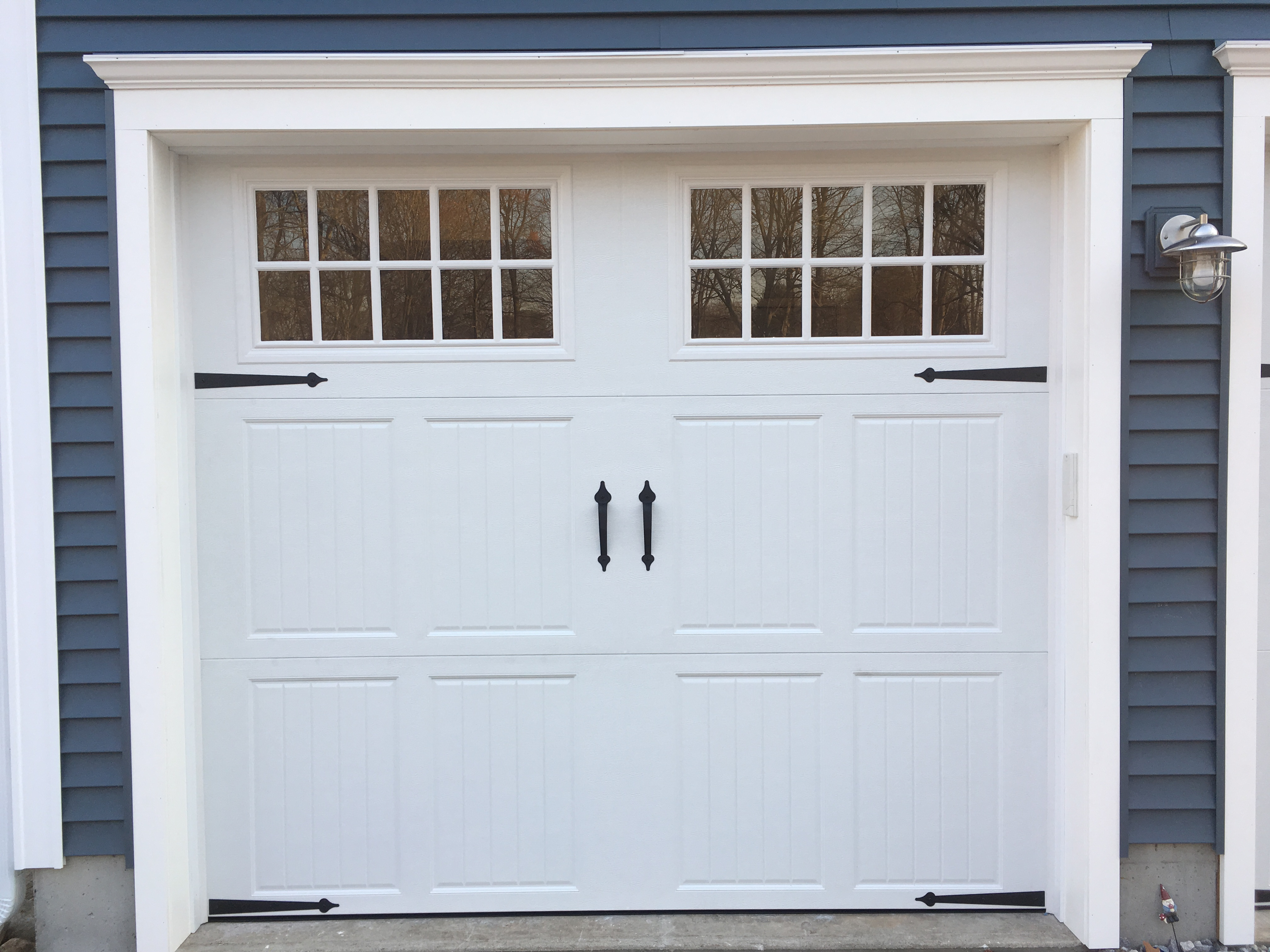 Classica northampton garage door white 9 x 8 no windows -  We Built Opening Down With 1x4 To Accommodate 6 9 High Doors And Give Full Reveal To 6 Pane Glass Windows And Not Clip Or Miter The Rectangle Windows