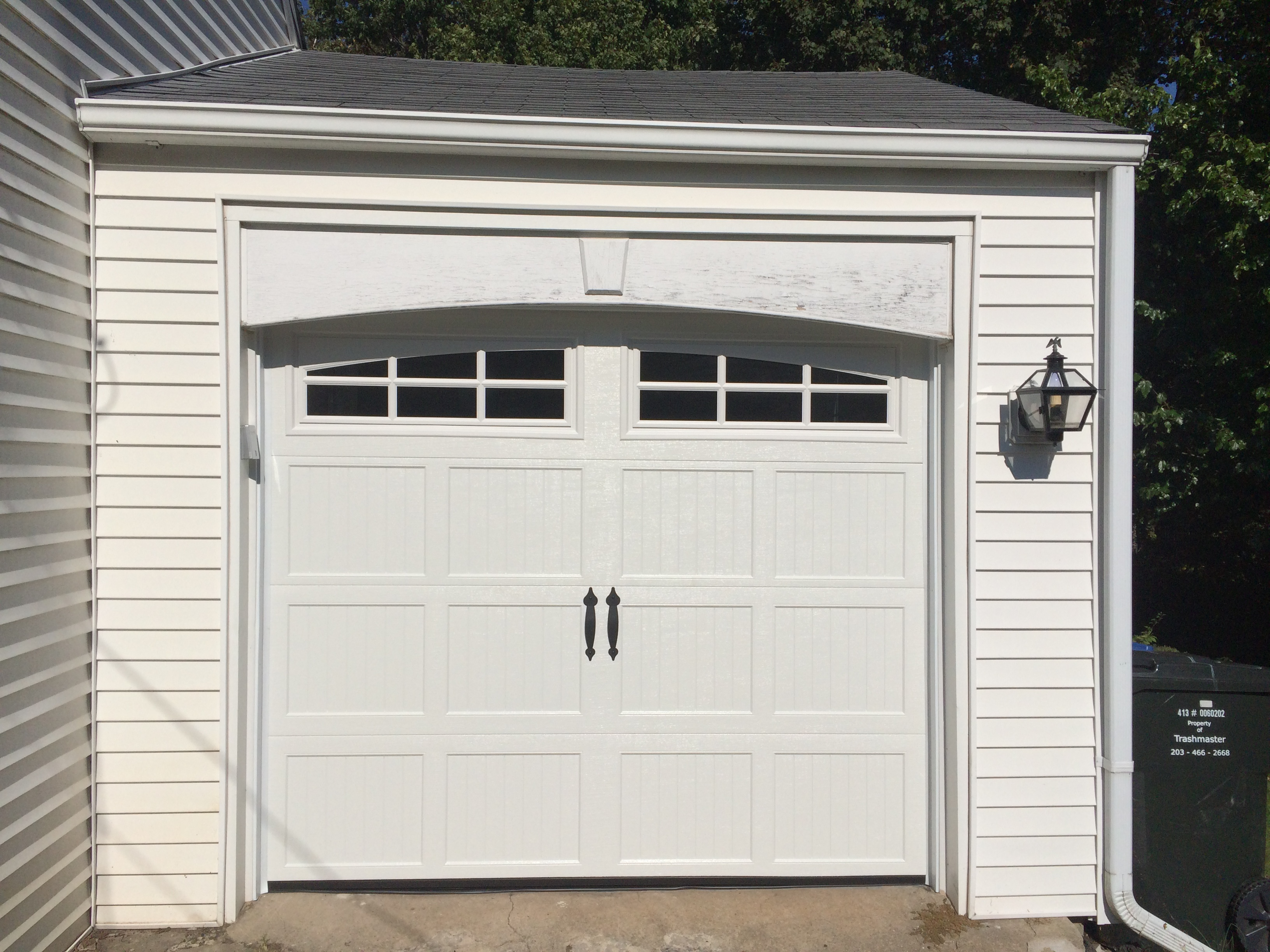 Classica northampton garage door white 9 x 8 no windows - 18 Wide X 8 High Haas 2080 R17 Insulation 4 24 High Sections Replaced 5 Section Door That Had Top Weatherstripping Hiding Part Of Raised Panels On Top